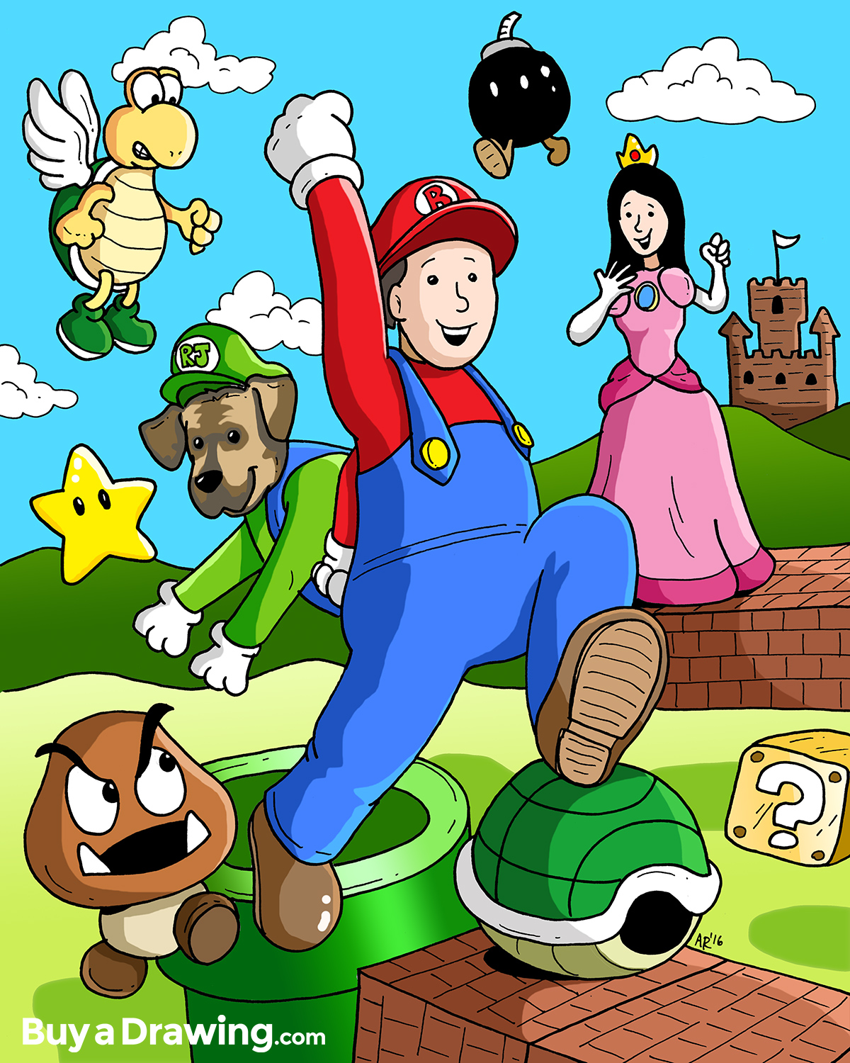 1200x1500 Cartoon Drawing Of Husband Amp Wife As Super Mario Amp Princess