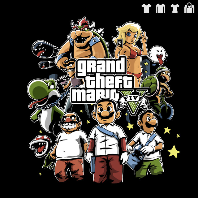 640x640 Gta5 Mario Style Hand Drawing Cartoon Men Short Sleeve Big Size