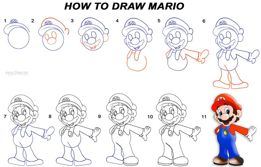 850x544 How To Draw Mario Step By Step Drawing Lessons.