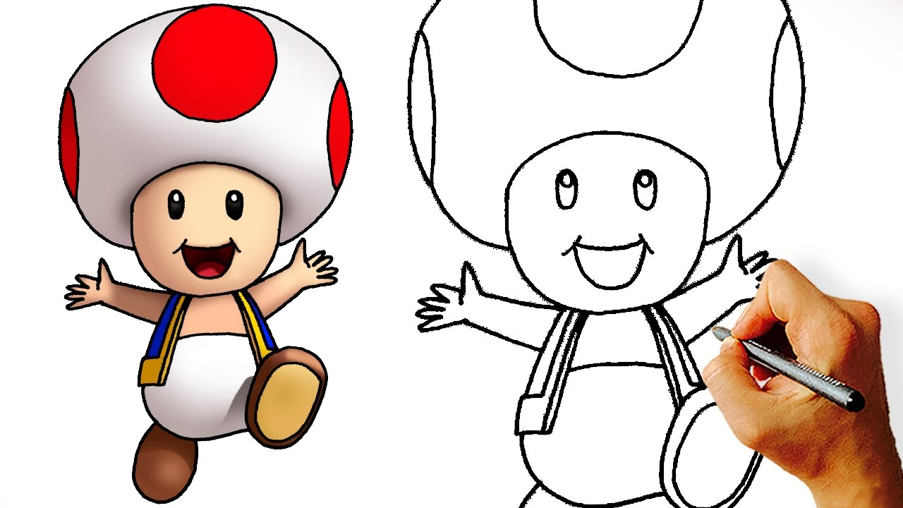 1280x720 How To Draw Cute Toad (Super Mario Characters) Step By Step