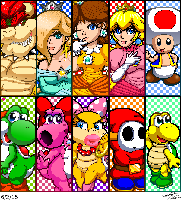 600x666 Miiverse Mario Characters Drawing Collage By Bowser2queen