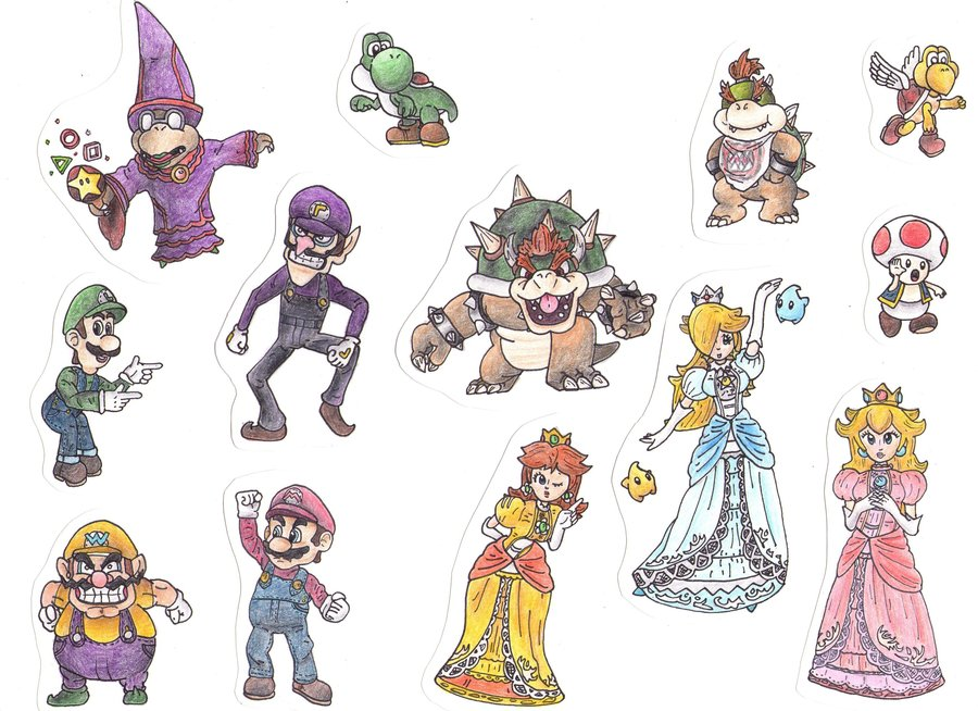 900x654 Detailed Mario Characters By Lukeykins73