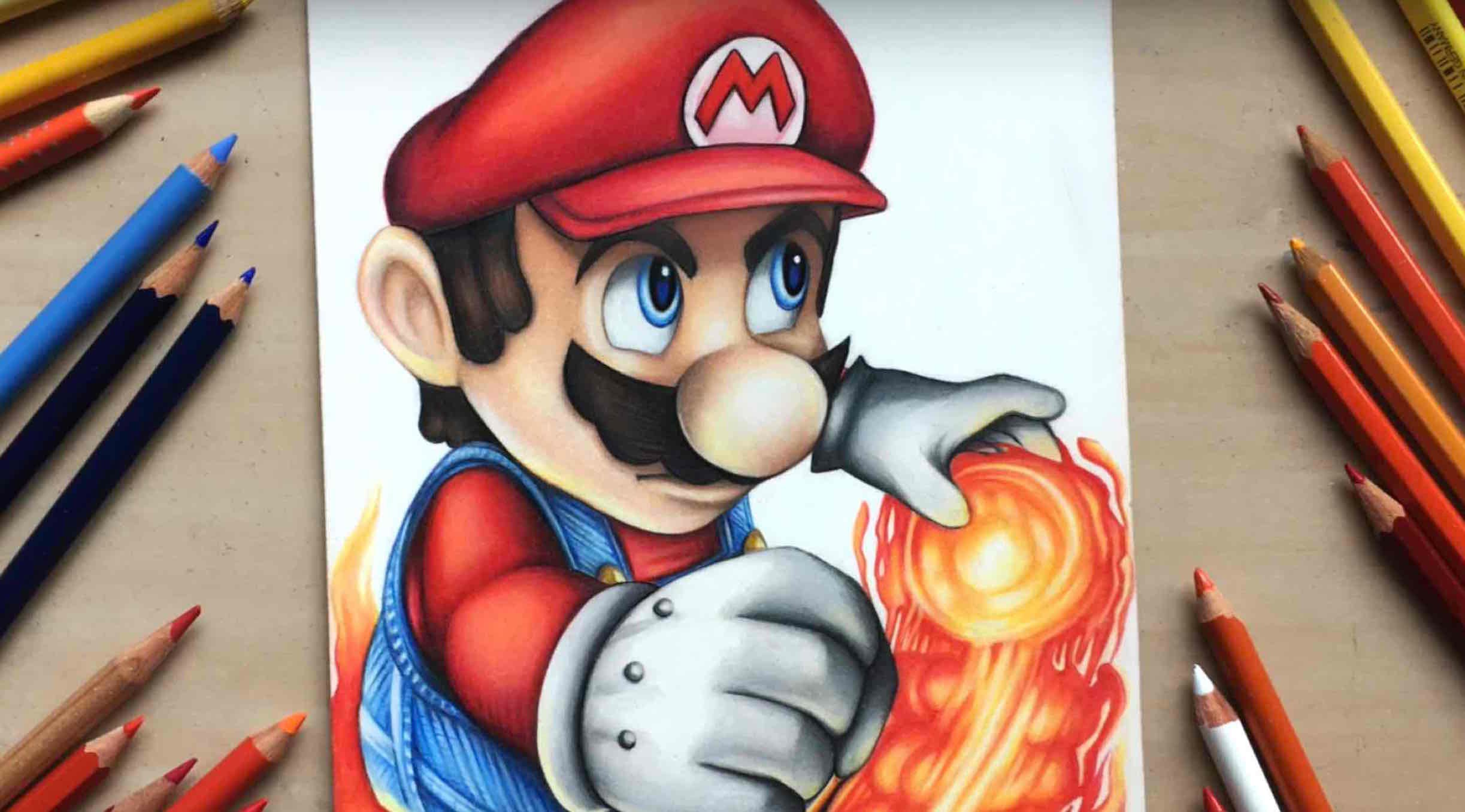 2446x1356 Drawing Mario From Nintendo Using Coloured Pencils