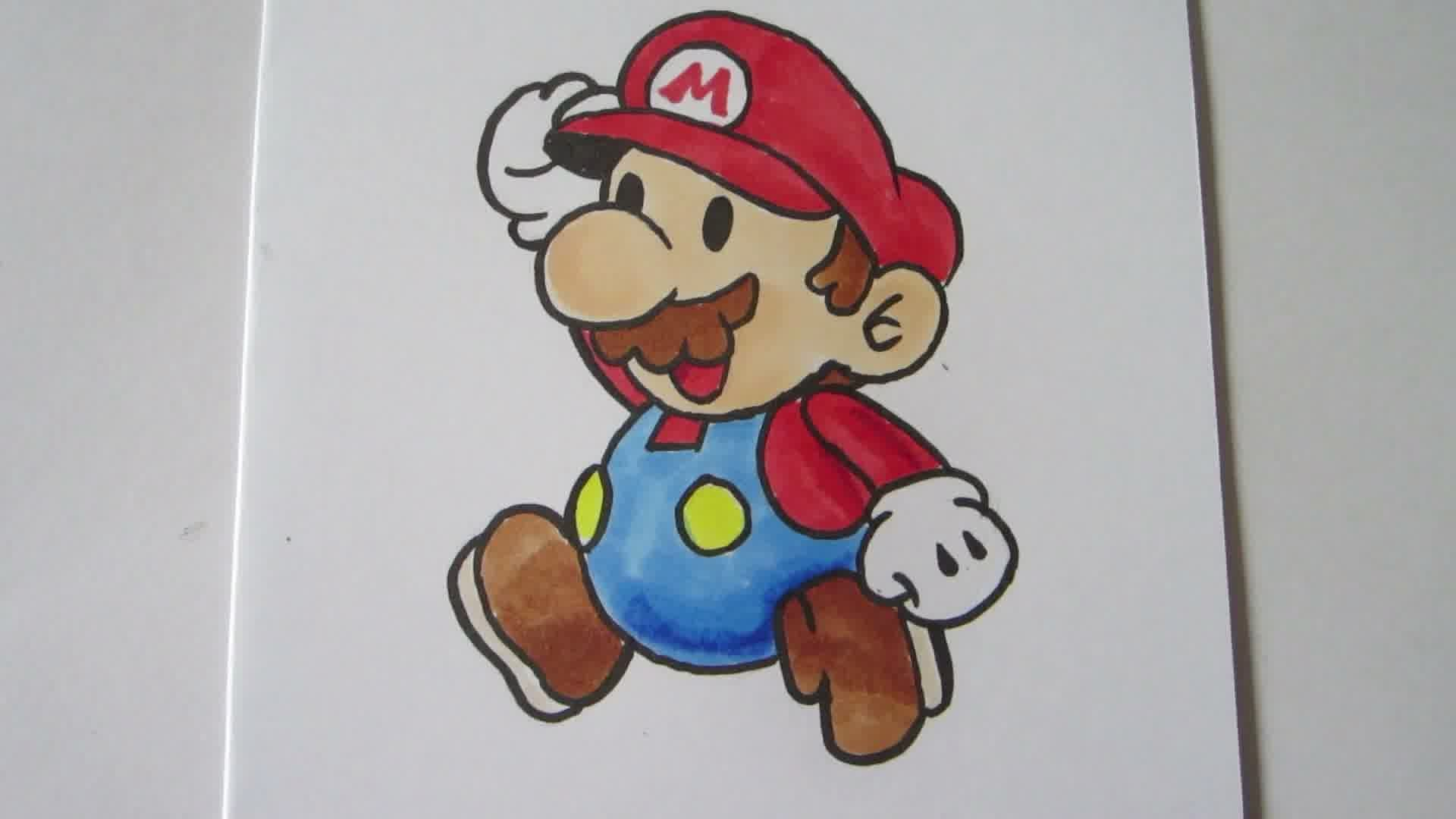 1920x1080 How To Draw Paper Mario Mario [Real Time]