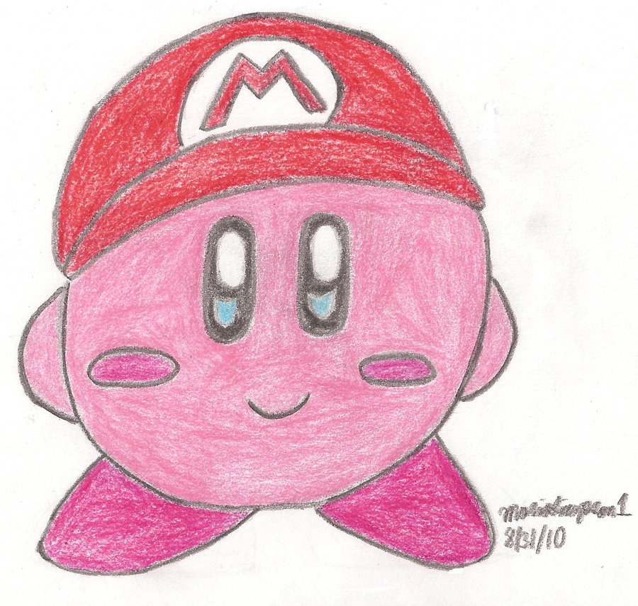 900x855 Kirby With Mario Hat Drawing By Mariosimpson1