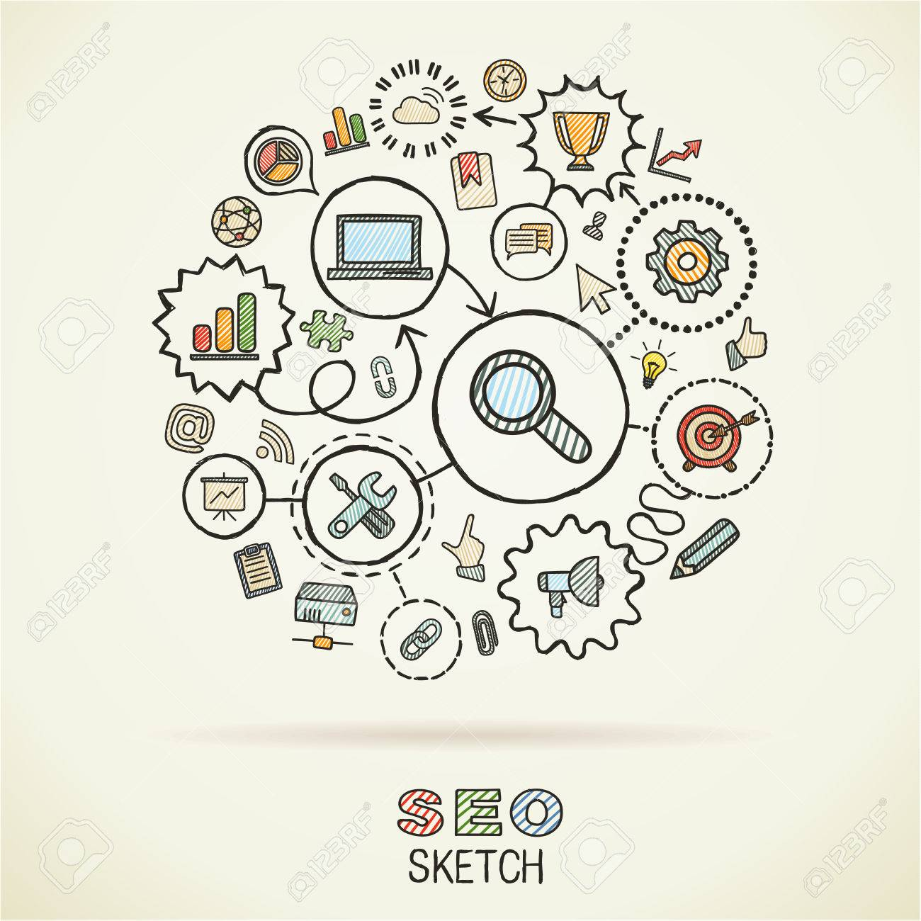 1300x1300 Seohand Drawing Integrated Sketch Icons. Vector Doodle Marketing