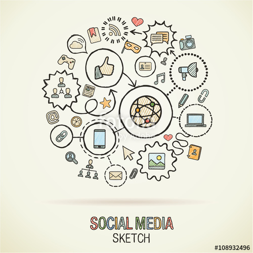 500x500 Social Media Hand Drawing Hatch Icons. Vector Doodle Integrated