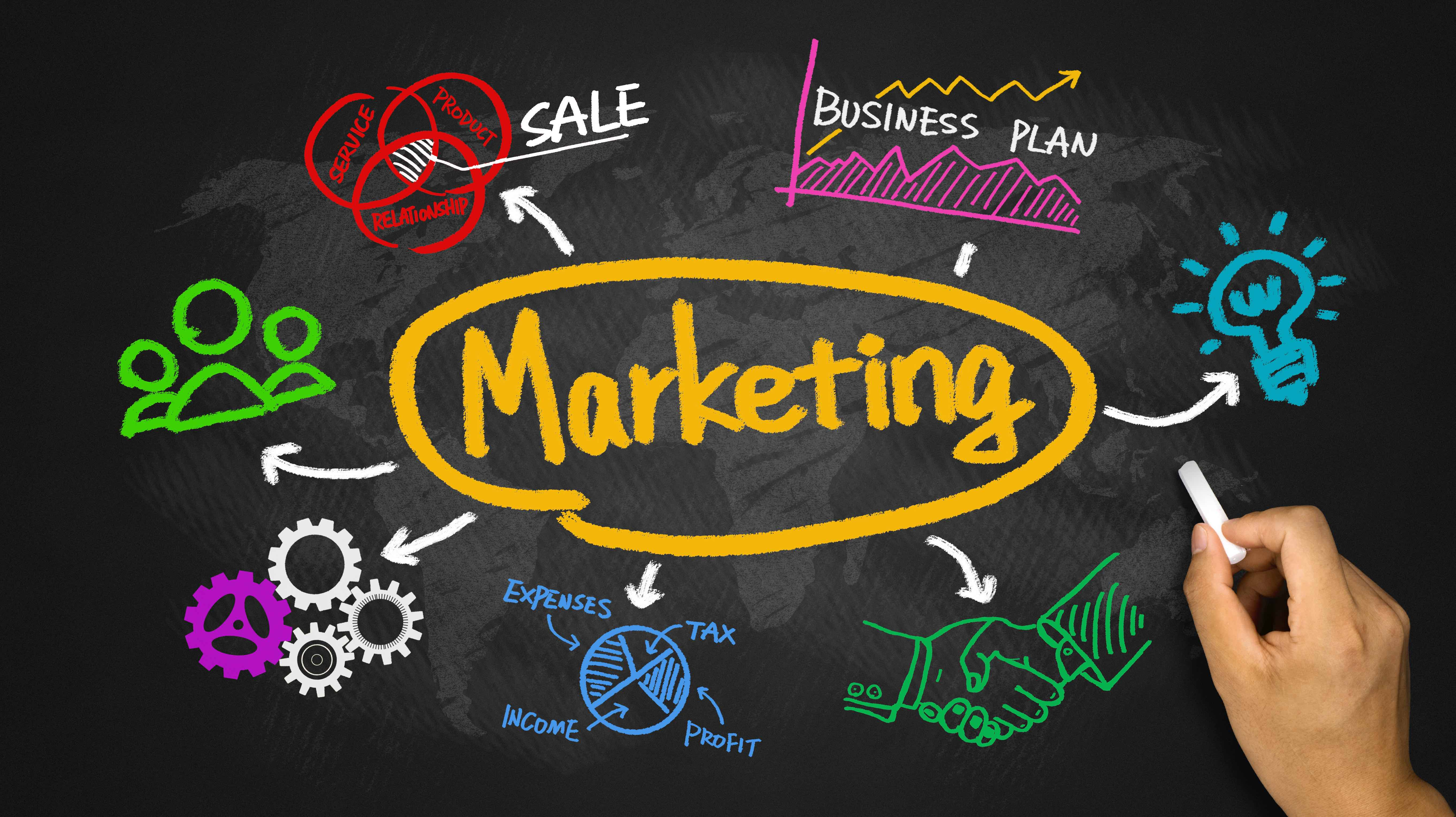 5443x3054 Marketing With Business Graph And Chart Hand Drawing On Blackboard