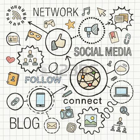 450x450 Social Media Social Media Hand Draw Integrated Color Icons Set