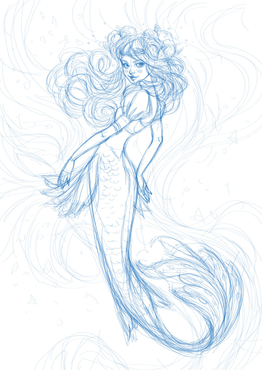 850x1200 How to Create a Watercolor Mermaid Illustration in Adobe Illustrator