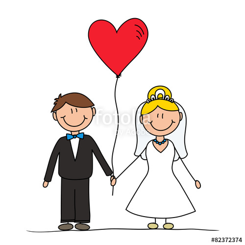 500x500 Married Couple Cartoon Drawing, Wedding Invitation Concept Stock