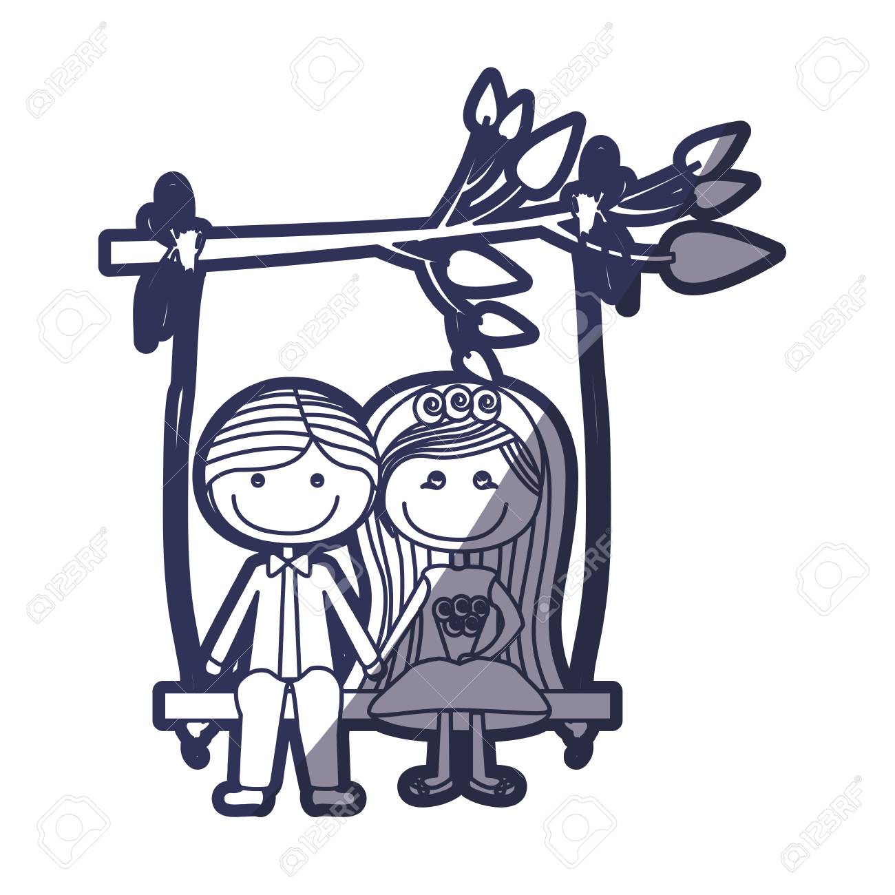 1300x1300 Blue Color Contour Caricature Married Couple In Swing Hanging