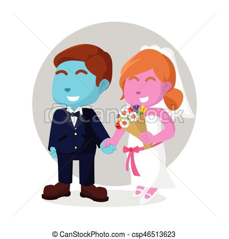 450x470 Married Couple Holding Hand Vector Illustration