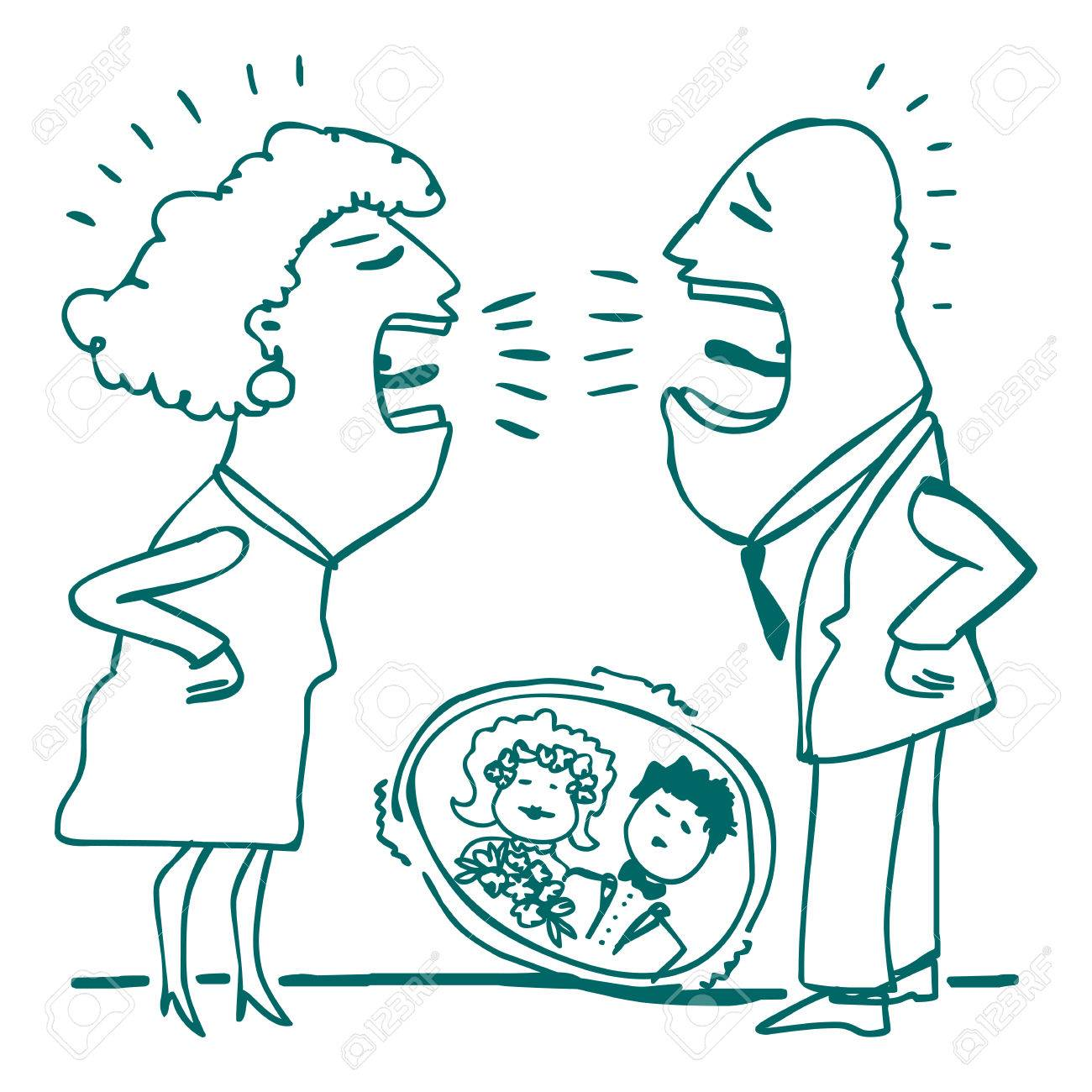 1300x1300 Drawing Of A Fighting Married Couple Royalty Free Cliparts