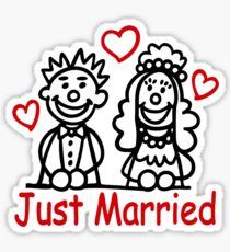 210x230 Just Married Drawing Stickers Redbubble