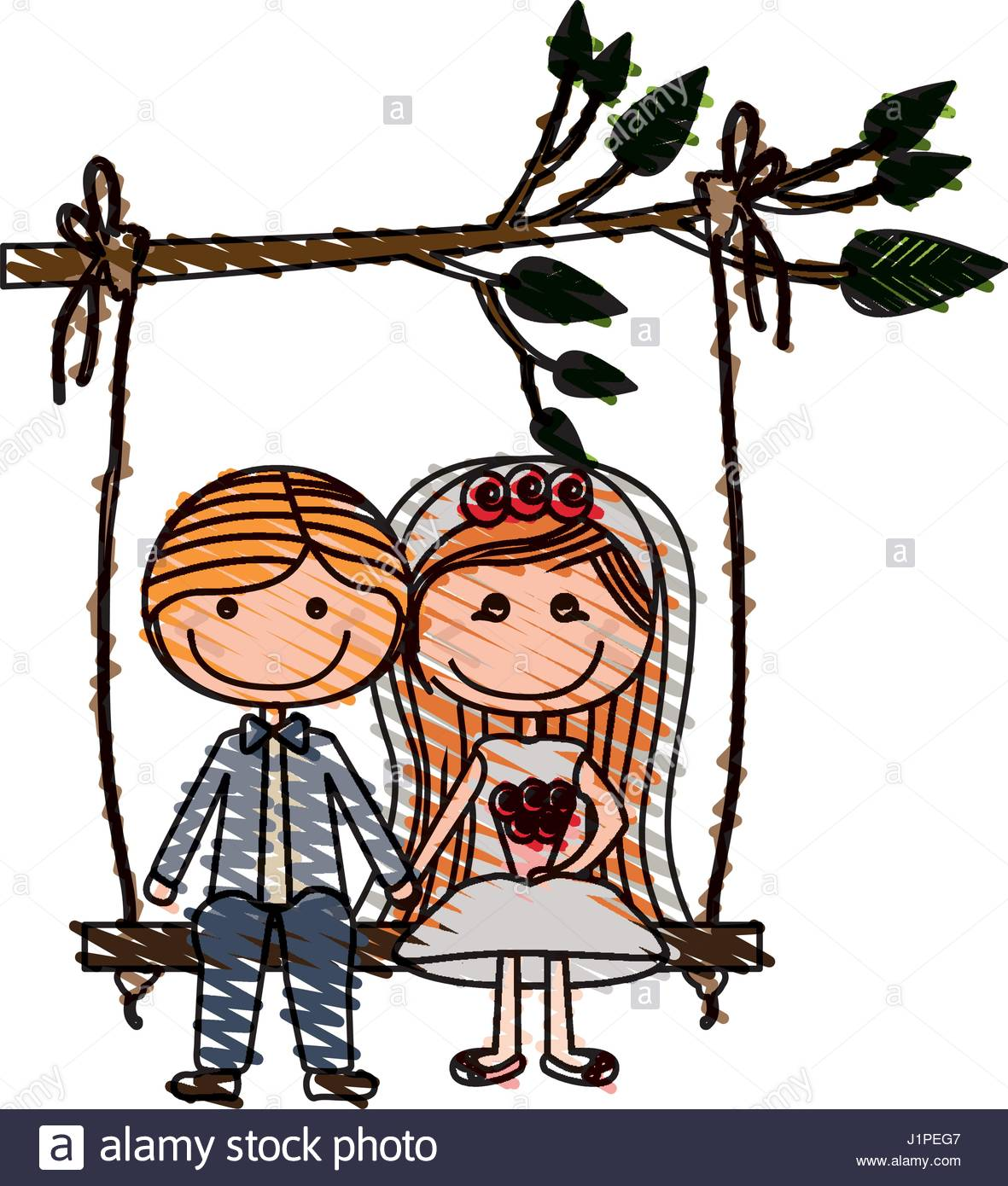 1181x1390 Color Pencil Drawing Of Caricature Married Couple In Swing Hanging
