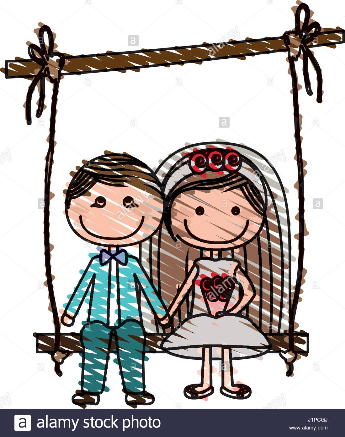 1100x1390 Color Pencil Drawing Of Caricature Married Guy And Girl Sit