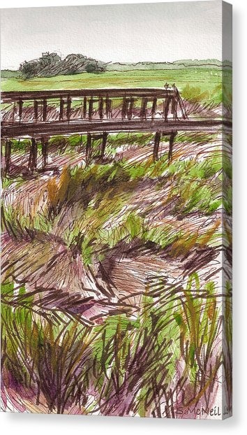 354x622 Dock Across The Marsh Drawing By Sharon Mcneil