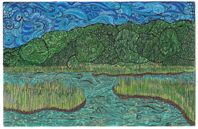 800x521 Quilted Delights Marsh Drawing