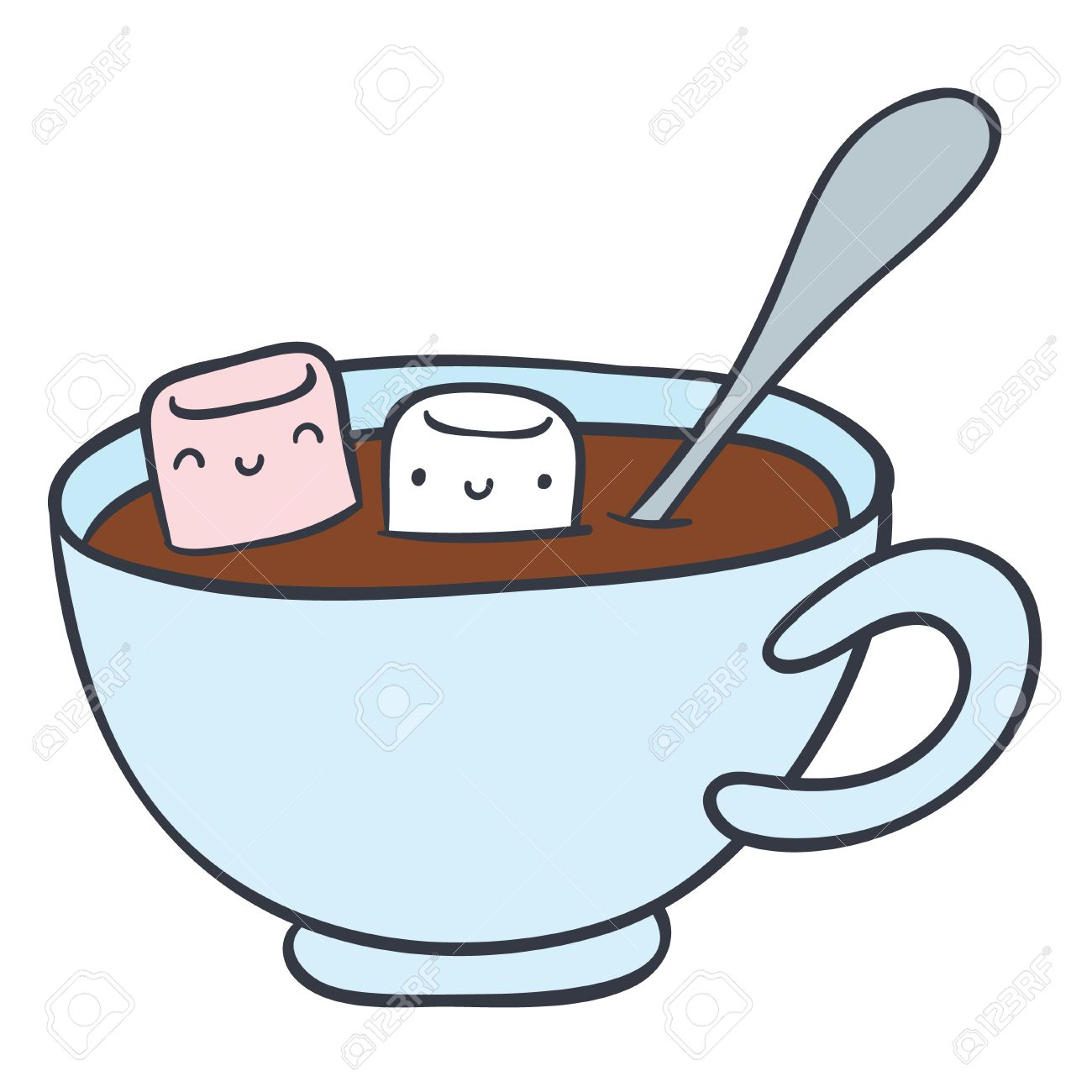 1300x1300 Cartoon Cup Of Hot Chocolate And Smiling Marshmallows
