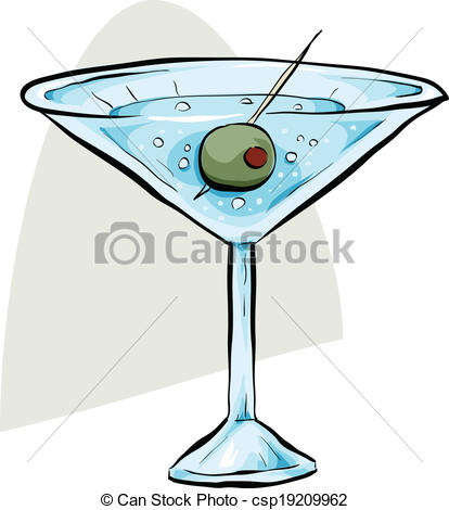 414x470 Martini With Olive. A Green Cartoon Olive Sitting In A Dry Clip