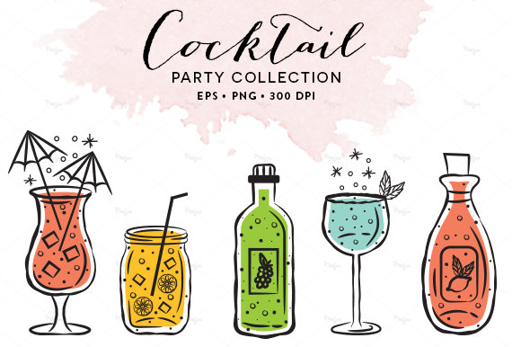570x386 Digital Cocktail Glasses Clipart Wine Glasses Illustration