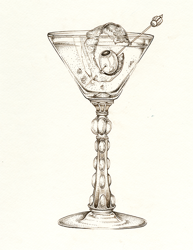 634x820 Spicy Dirty Martini Dirty Thang Art By Ellie Lukova Ink Drawing