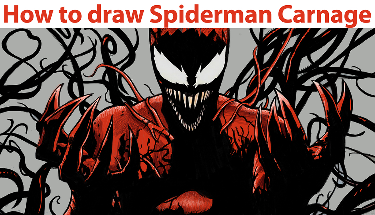 1200x688 How To Draw Spiderman Carnage From Marvel Comics Step By Step