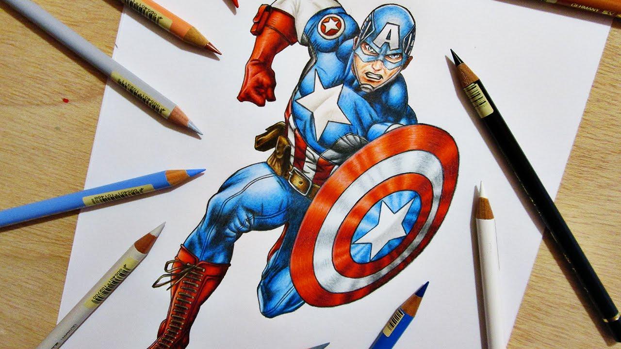 1280x720 Speed Drawing Captain America Marvel Comics