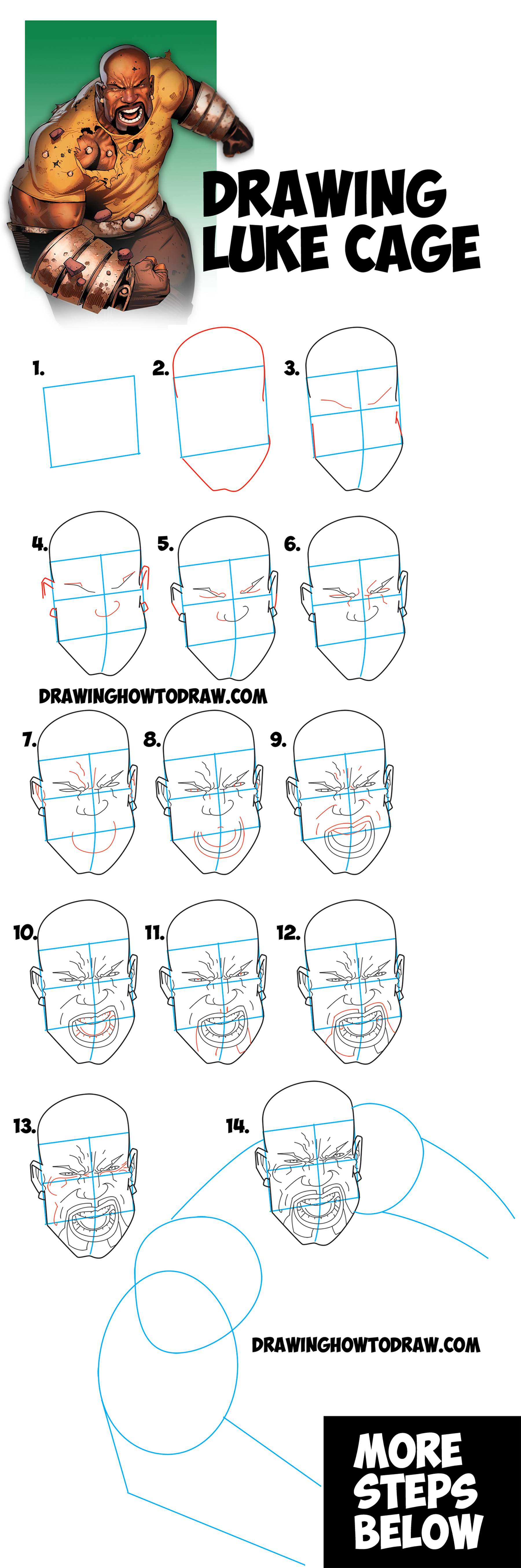 1800x5412 How To Draw Luke Cage From Marvel And Netflix's Luke Cage Series