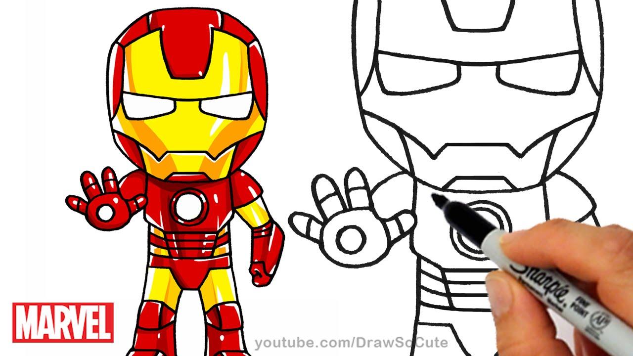 1280x720 How To Draw Iron Man Step By Step Chibi Marvel Superhero