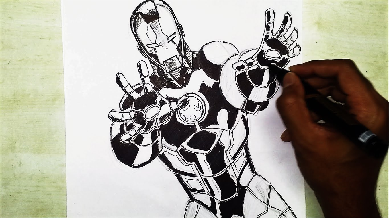 1366x768 Marvel Superhero Iron Man Comic Speed Drawing And Inking (Time