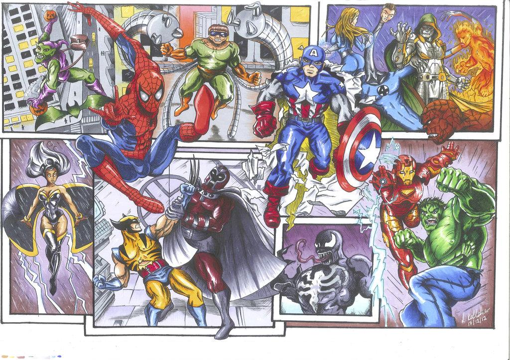1024x724 Marvel Superhero And Villain Collage By Lornakelleherart