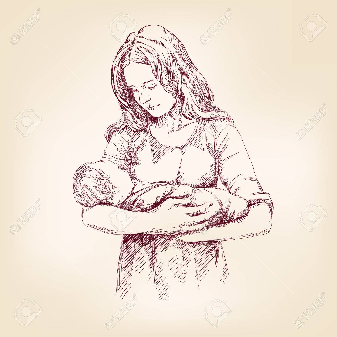 1300x1300 Madonna Mary Holding Baby Jesus Hand Drawn Vector Llustration
