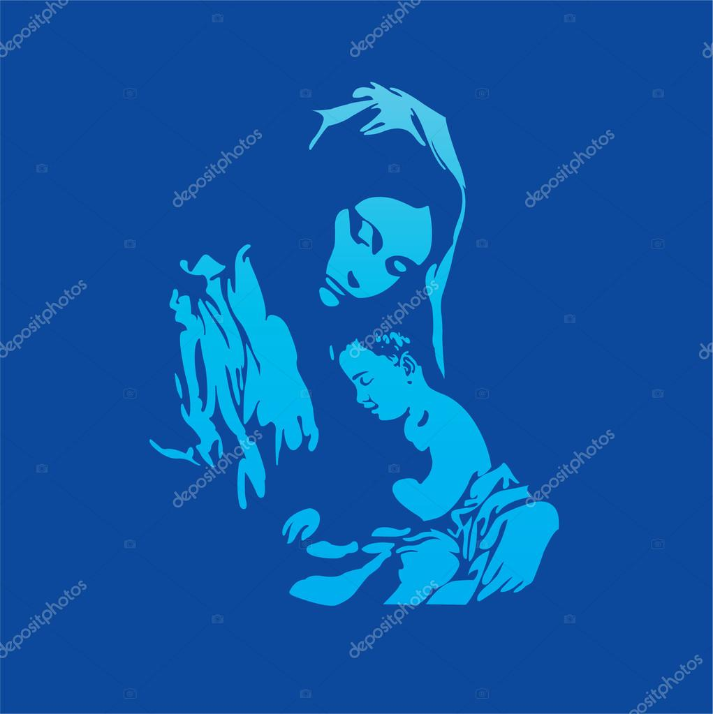 1021x1023 Mother Mary With Jesus Christ In Blue Stock Vector Milesthone