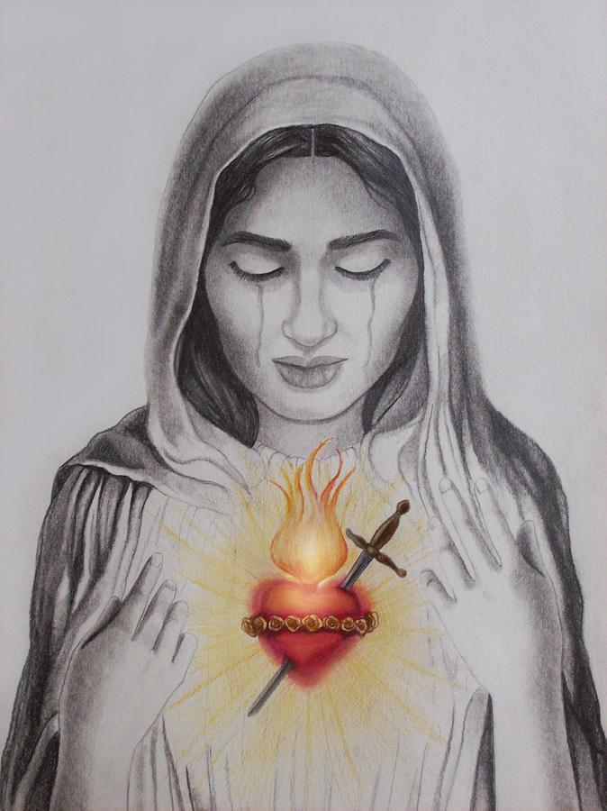 674x900 The Sacred Heart Drawing By Amber Stanford