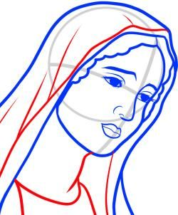 250x302 Welcome Art Line Drawing ~ How To Draw Mary (Virgin Mary