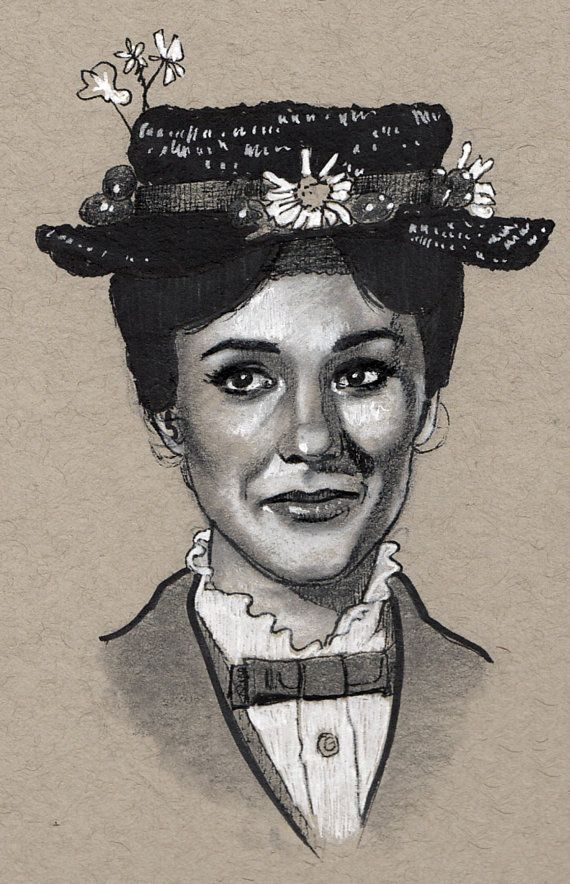 570x884 Julie Andrews As Mary Poppins Celebrity Drawings Ii