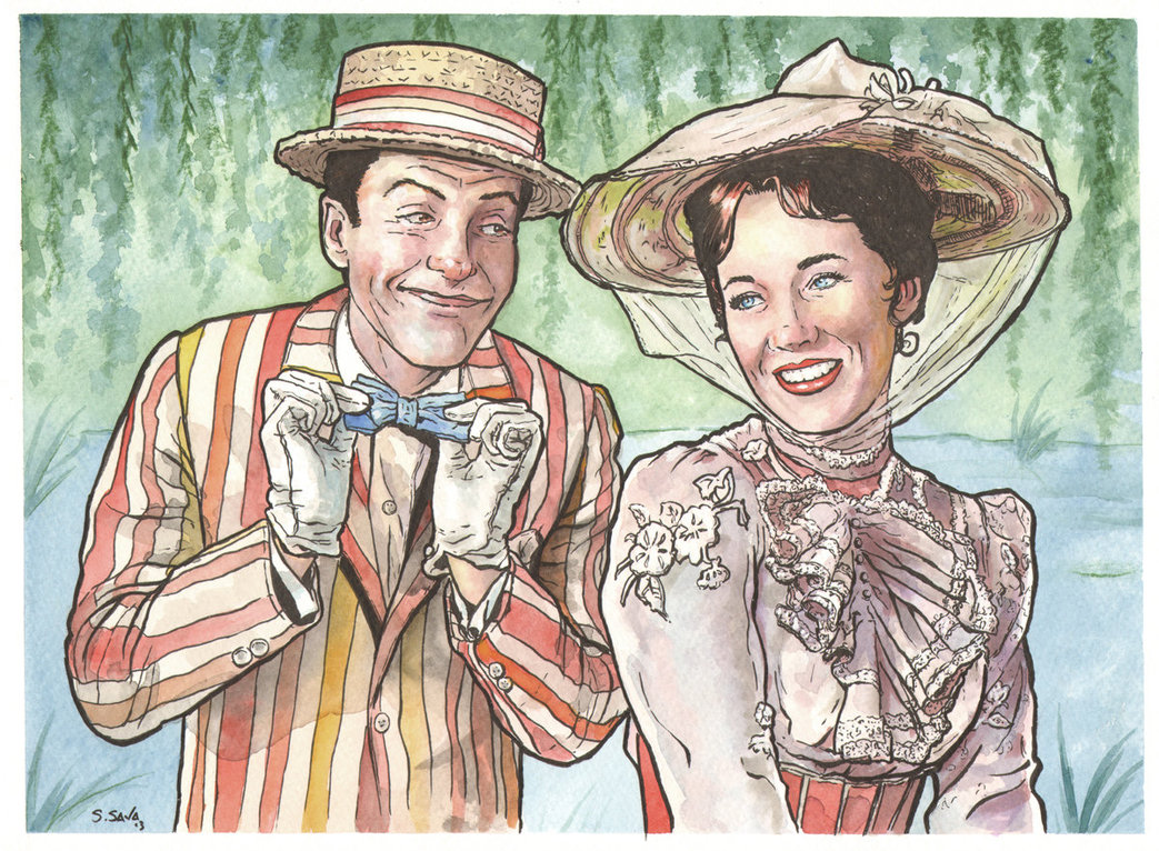 1043x766 Mary Poppins And Bert By Ssava