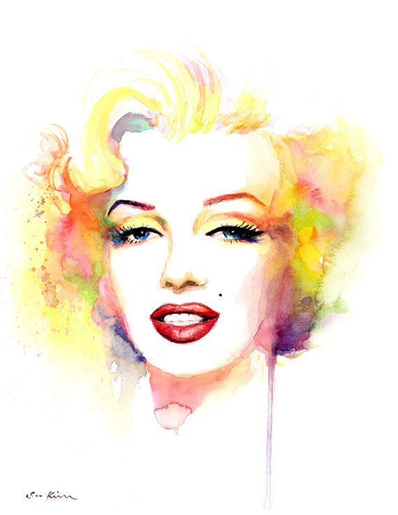 570x738 Marilyn Monroe Watercolor Painting Print Yellow Pink