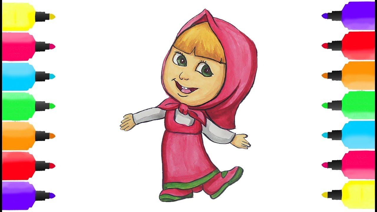 1280x720 How To Draw Masha From Masha And The Bear Drawing And Coloring