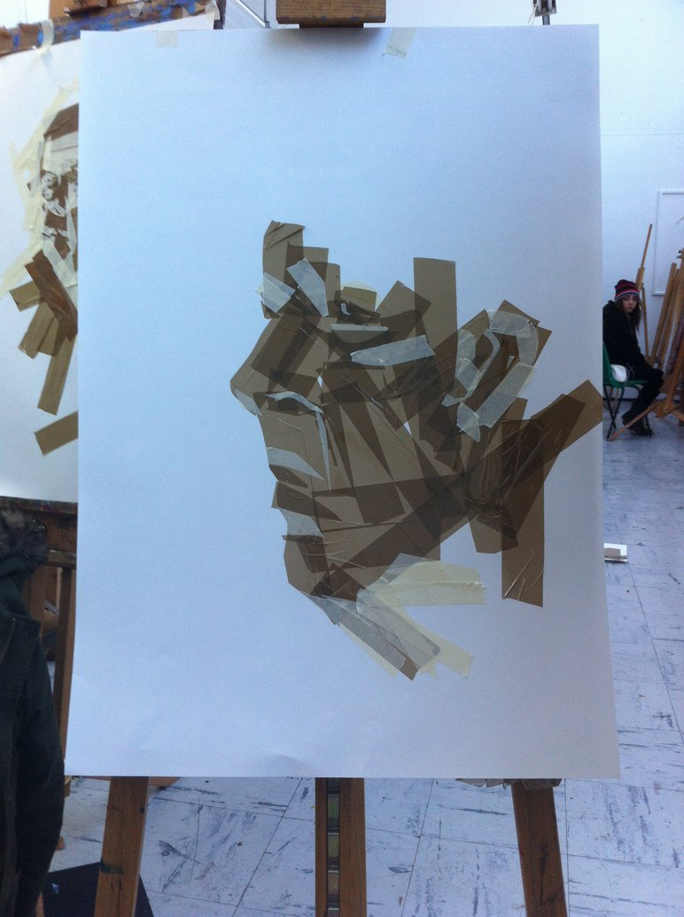 772x1034 Life Drawing Parcel And Masking Tape Portrait By Conniepiper