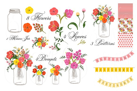 580x386 Hand Drawn Mason Jars, Card Template Clip Art