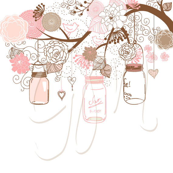 570x570 Hand Drawn Mason Jars, Card Template And Digital Papers, Clip Art