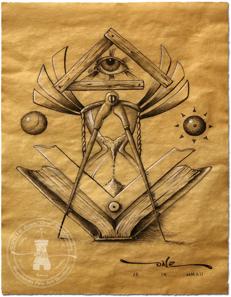 457x588 Light Of Time Masonic Drawing Depicting Symbols Related To Time