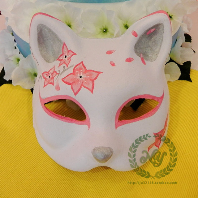 640x640 Hand Draw Cat Mask Pink Halloween Ball Masquerade Shows