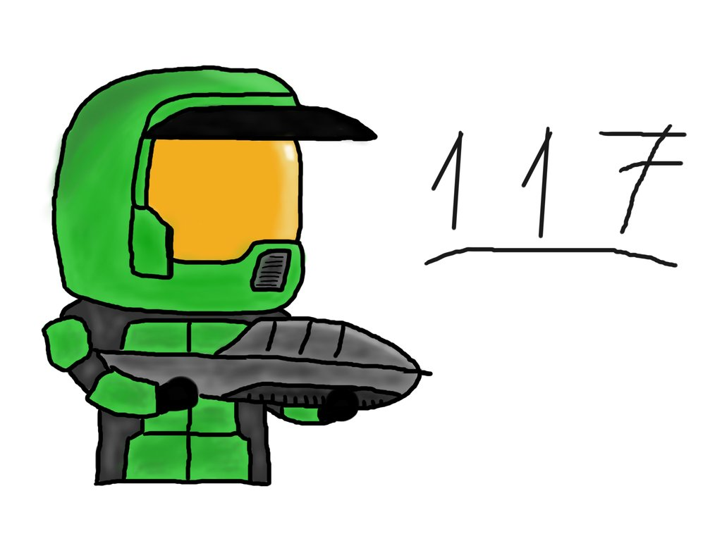 1024x768 Master Chief Cartoon Style (Colored) By Gbms