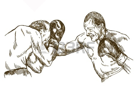 450x318 Boxing Match, Hand Drawing Converted Into Royalty Free Cliparts
