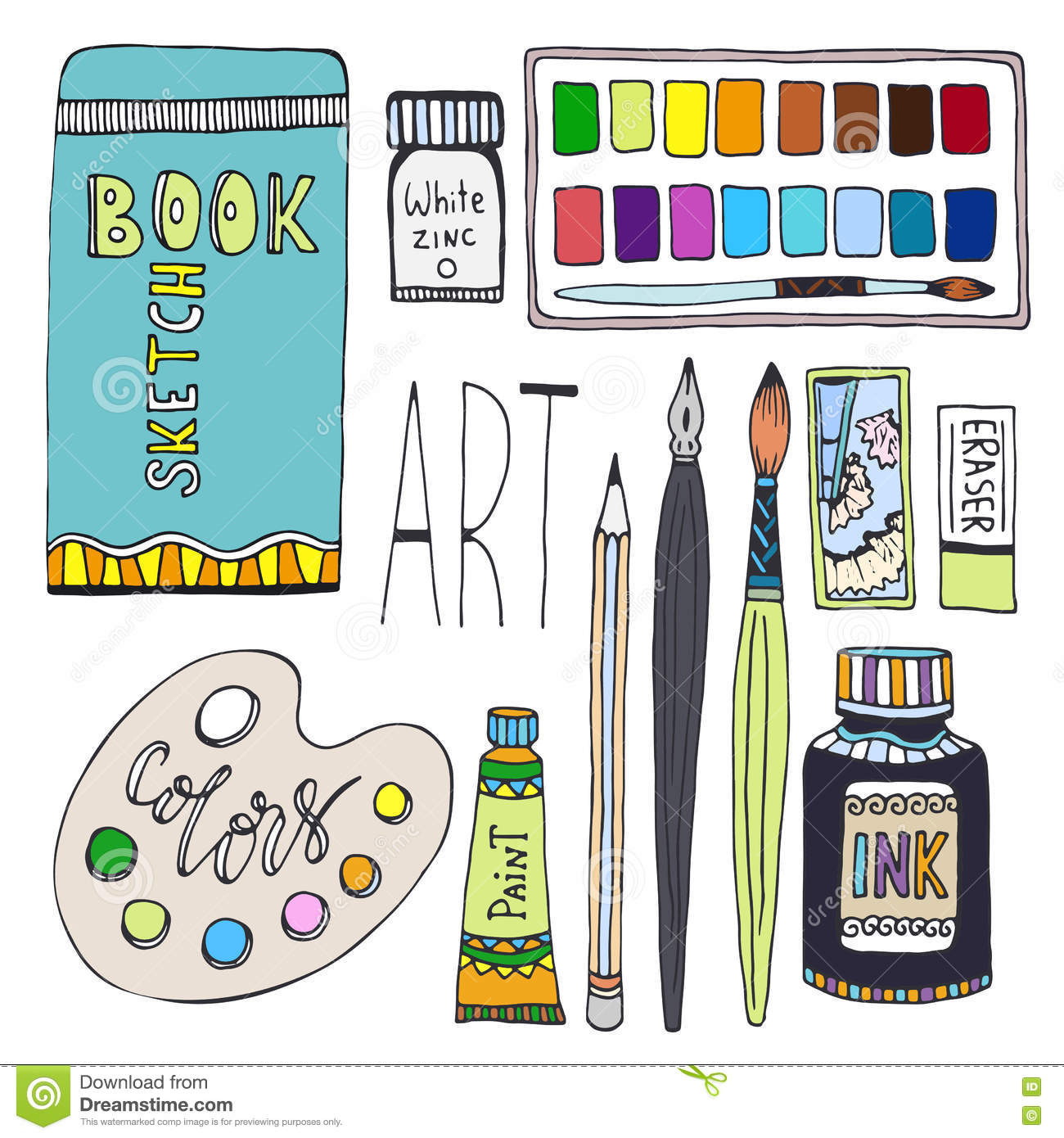 1300x1390 Art And Drawing Supplies Vector Set Art Materials Drawing By Stock