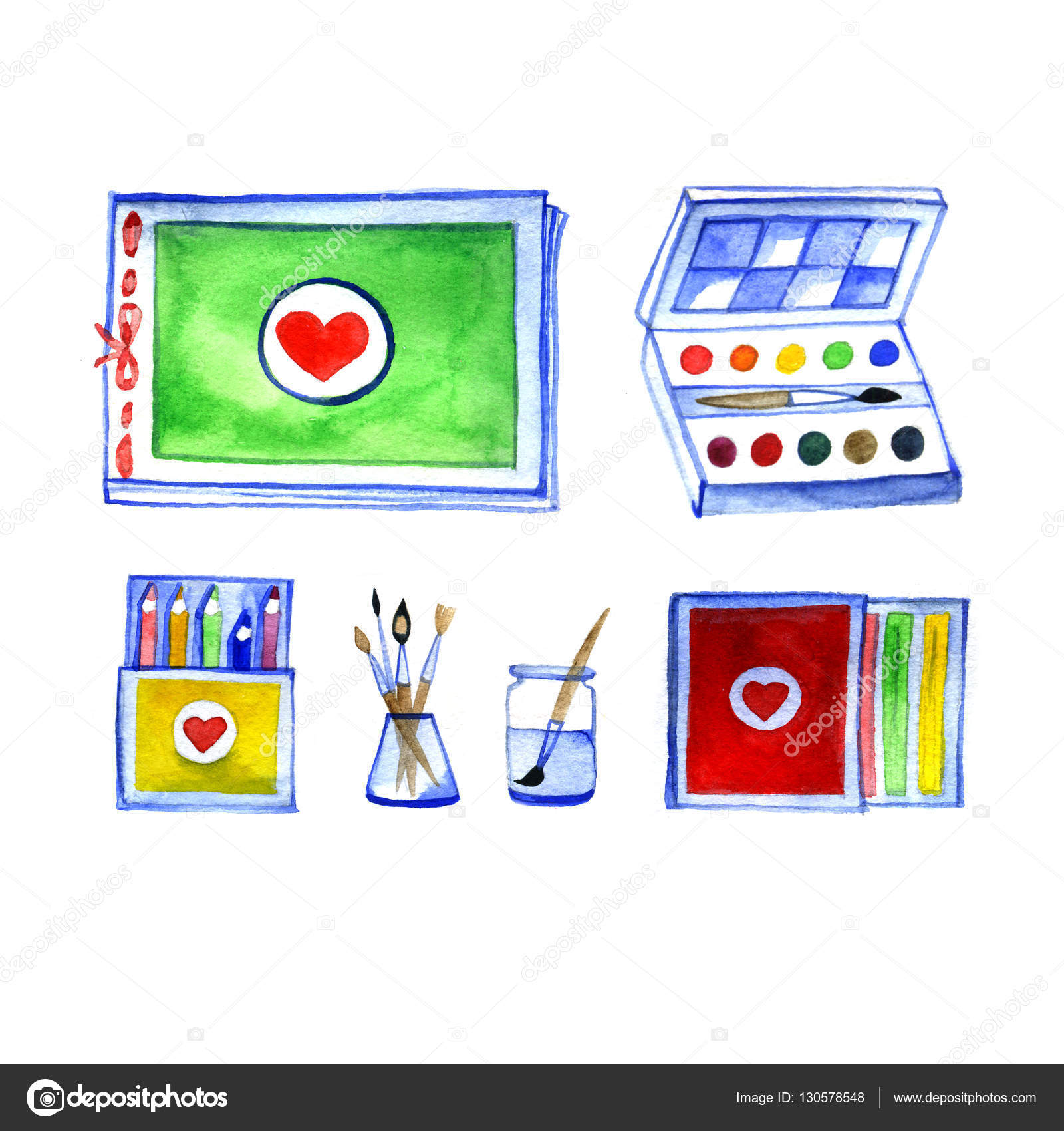 1600x1700 Set Of Art Materials, Drawing By Watercolor, Accessories